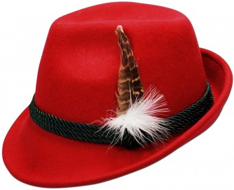 Trachten Felt Hat with Feather, Red