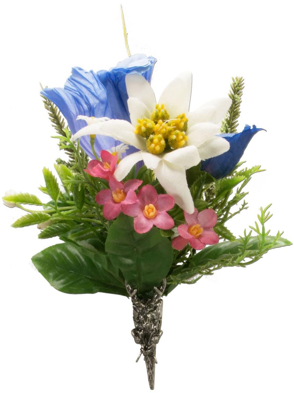 Trachten Brosche Alpenblümchen