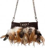 Vorschau: Trachten Handtasche Federn braun