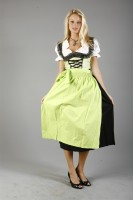 3-piece longer-length green dirndl with trailing pattern