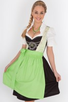 3-piece green mid-length dirndl with sweetheart neckline