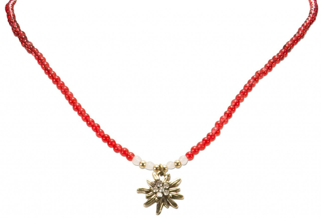 Pearl necklace rhinestone edelweiss red