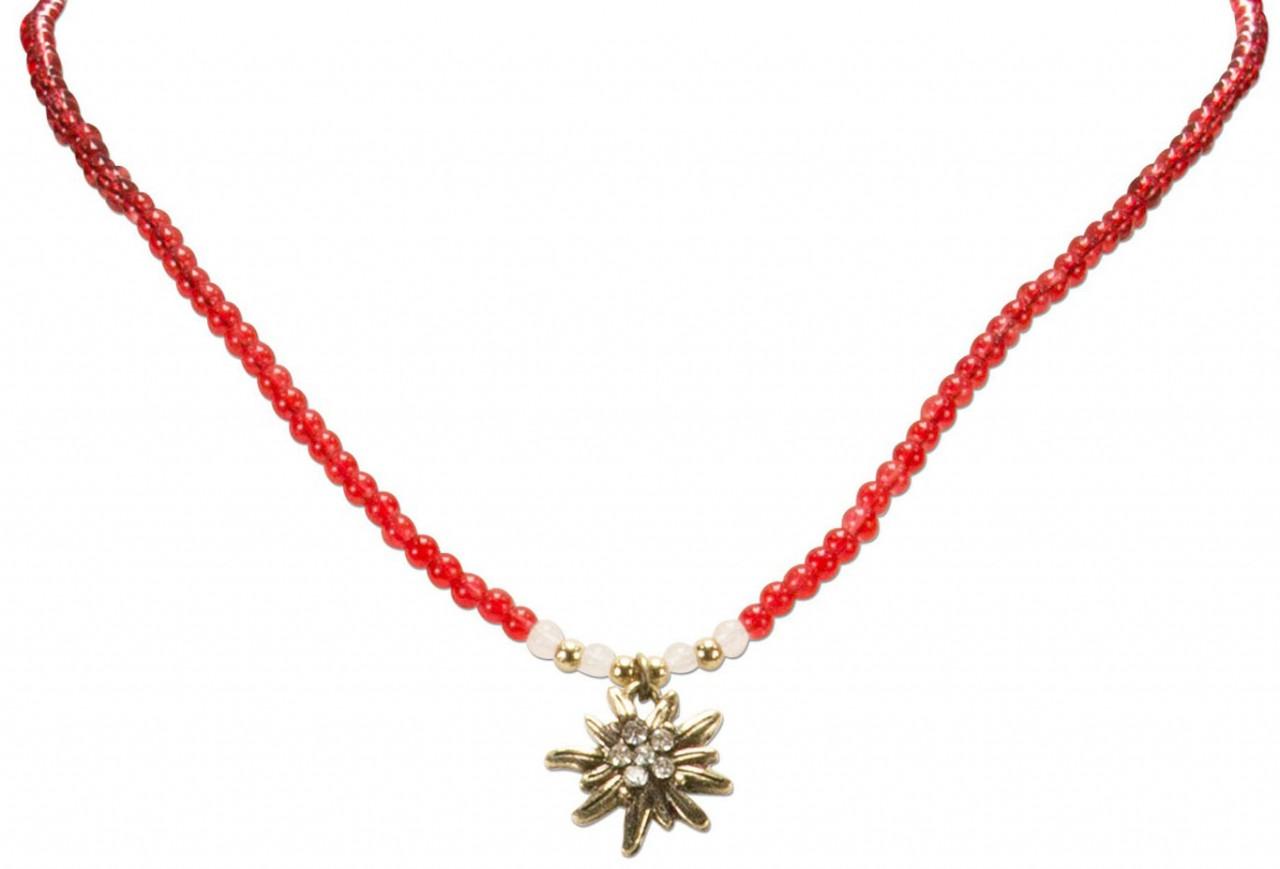 Perlenhalskette Strass-Edelweiß rot