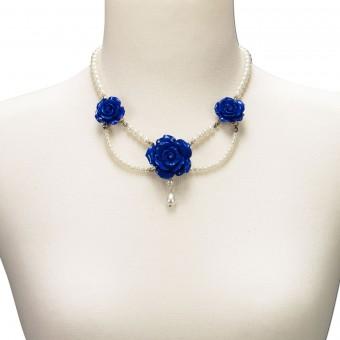 Perlenkette Karina blau