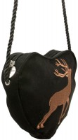Vorschau: Trachten Herztasche Hirsch schwarz
