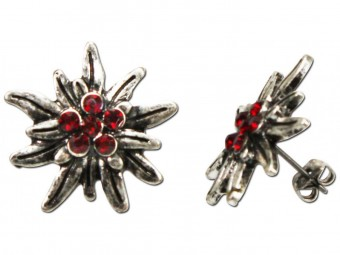Trachten Earrings, Rhinestones, Old Silver-Red