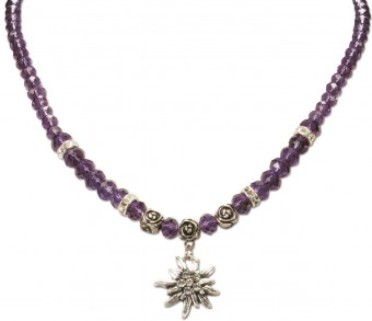 Trachten Pearl Necklace with Edelweiss, Purple