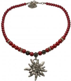 Perlenhalskette großes Edelweiß rot