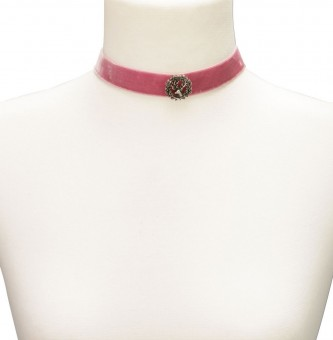 Trachten Choker with Deer Pin, Rose Pink