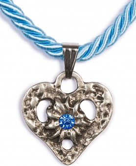 Braid Necklace with Heart Pendant, Light Blue