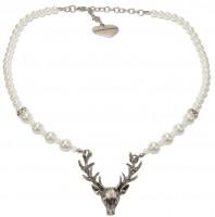 Vorschau: Perlenkette mit Hirschkopfanhänger creme-weiß