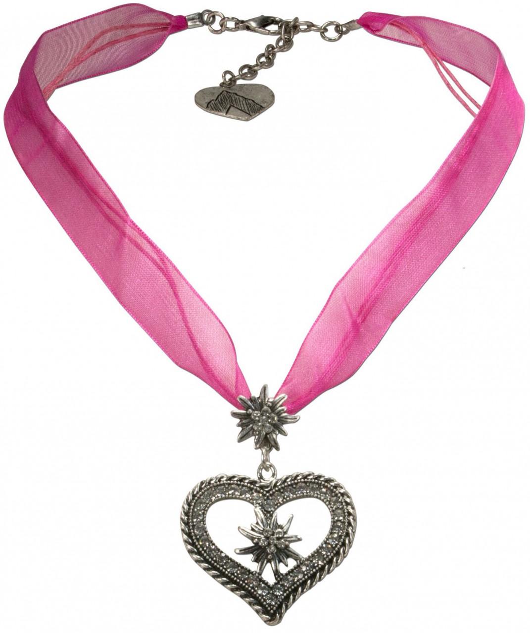 Organza Trachtenkette Maria pink
