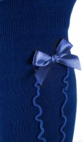 Preview: Ladies Stockings with Ruffle & Bow, Royal Blue