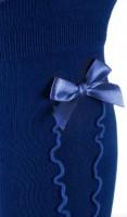 Vorschau: Damen Kniestrümpfe royalblau mit Rüsche und Schleife