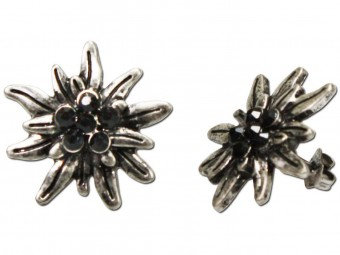 Trachten Earrings, Rhinestones, Old Silver-Black