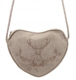 Heart-shaped traditional bag deer & oak leaves taupe-gray