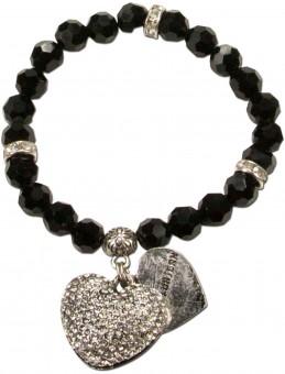Perlenarmband Strassherz schwarz
