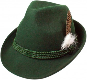 Trachten Felt Hat with Feather, Green
