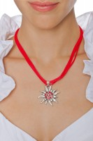 Preview: Satin Edelweiss Necklace, Red