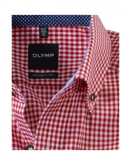 Olymp Luxor traditioneel shirt rood / wit geruit