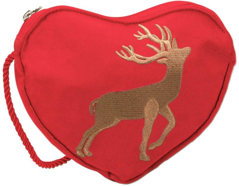 Trachten Herztasche Hirsch rot