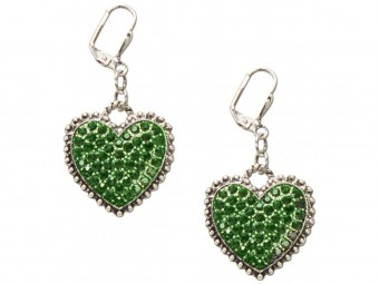 Heart-shaped Rhinestone Earrings, Green