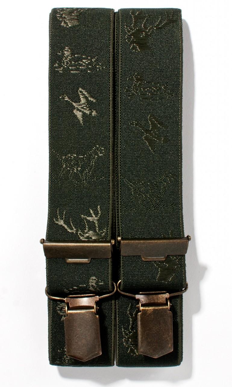 Bretels met jachtborduurwerk olijfgroen