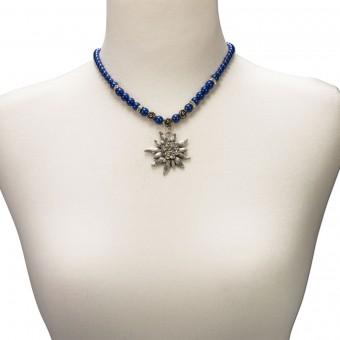 Perlenhalskette großes Edelweiß blau