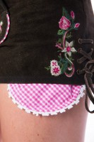 Vorschau: Lederhose Flowermix braun/pink