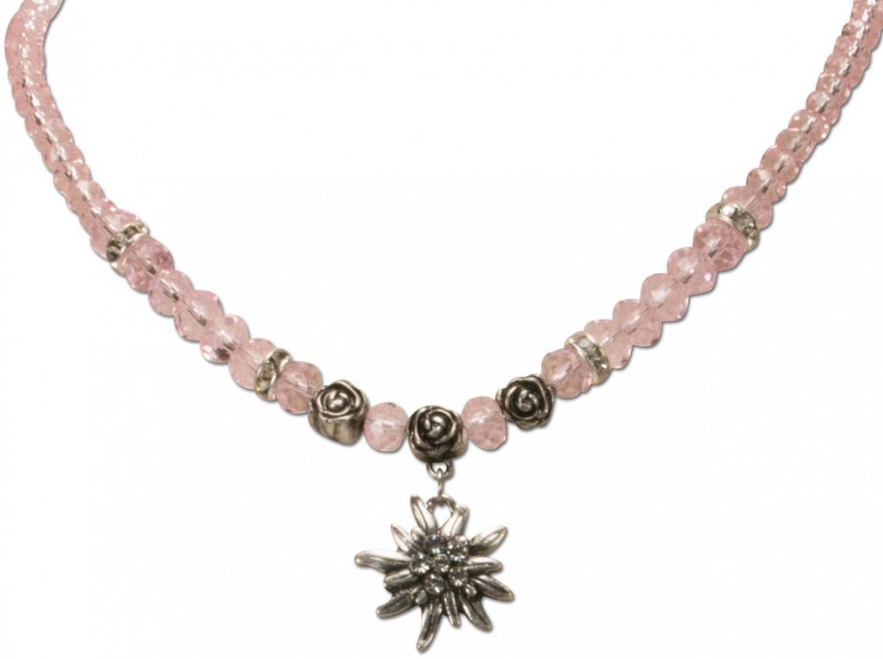 Perlenhalskette kleines Edelweiß rosa