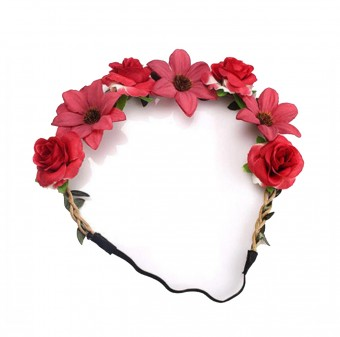 Haarband mit roten Blüten