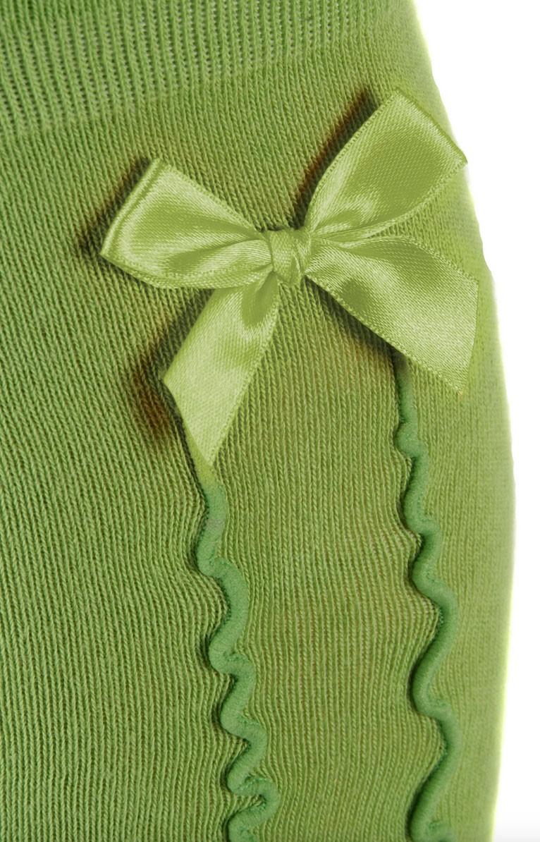 Damen Kniestrümpfe grün mit Rüsche und Schleife
