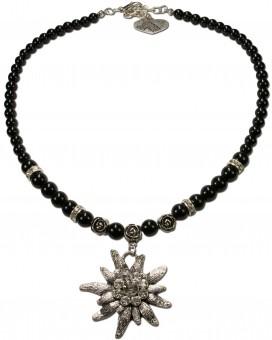 Perlenhalskette großes Edelweiß schwarz