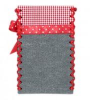 Handytasche Alpenherz-Edelweiß grau-rot