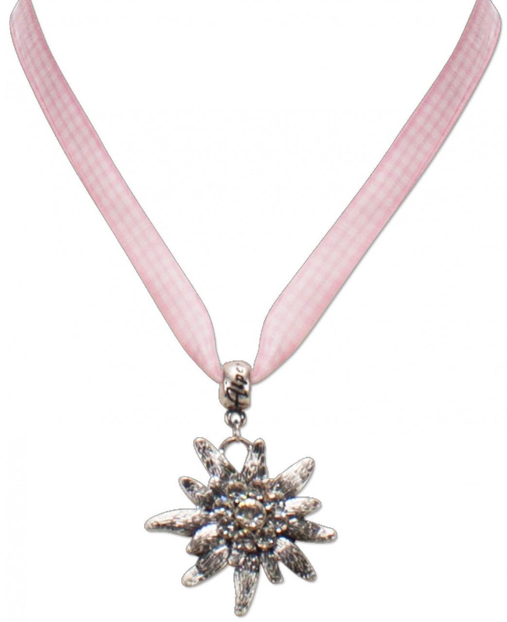 Karoband-Trachtenkette Edelweiß rosa