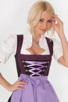 3-piece black midi dirndl with deep red borders