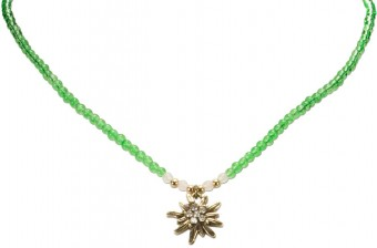 Pearl Necklace with Edelweiss Pendant, Green