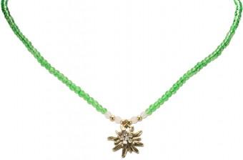 Perlenhalskette Strass-Edelweiß grün