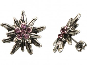 Trachten Earrings, Rhinestones, Old Silver-Rose