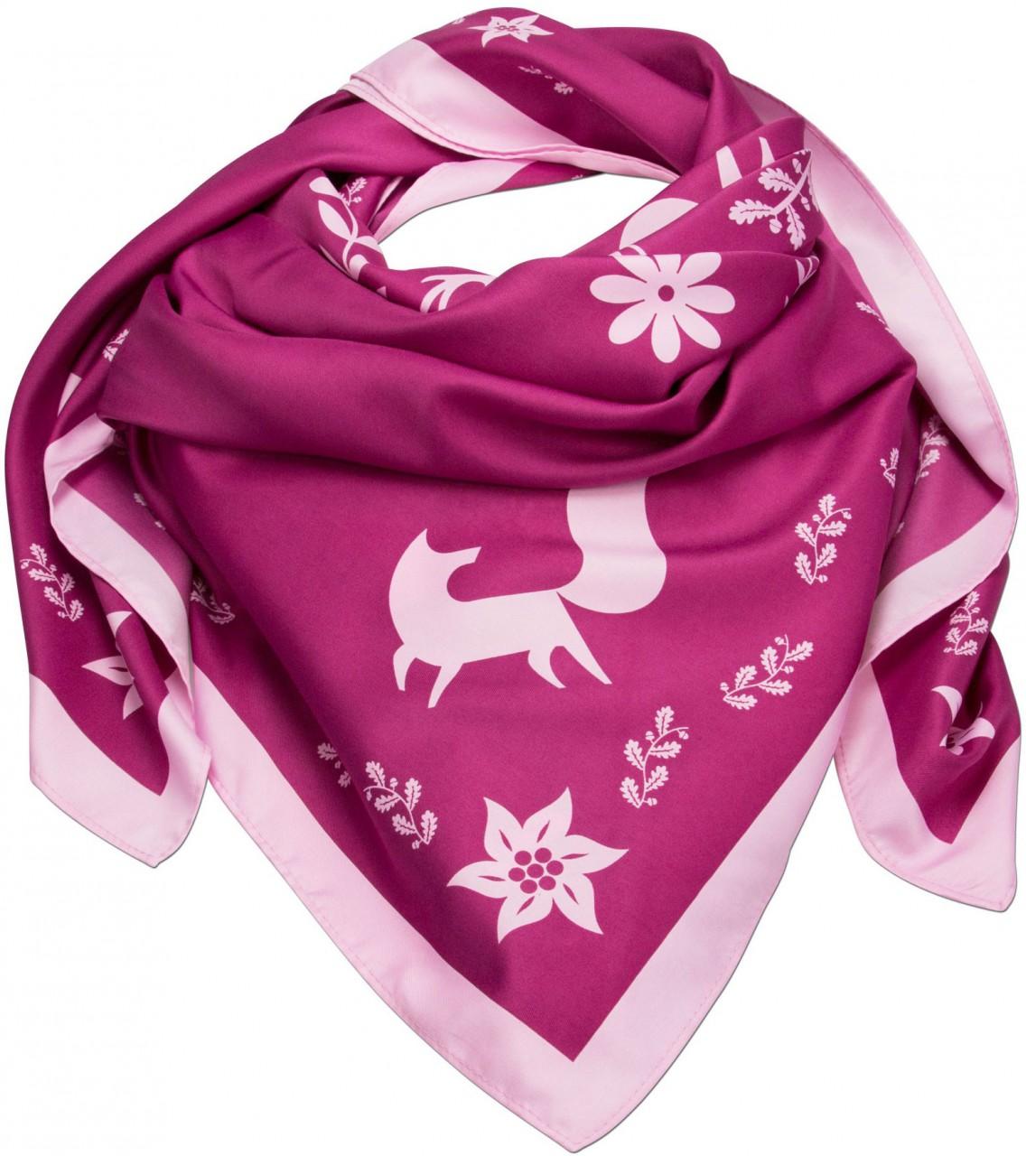 Trachtentuch Waldtiere pink