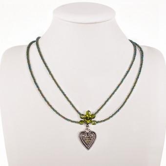 Perlencollier 2-reihig oliv