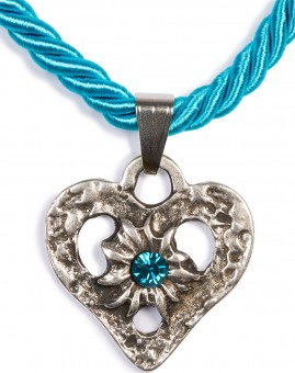 Braid Necklace with Heart Pendant, Turquoise