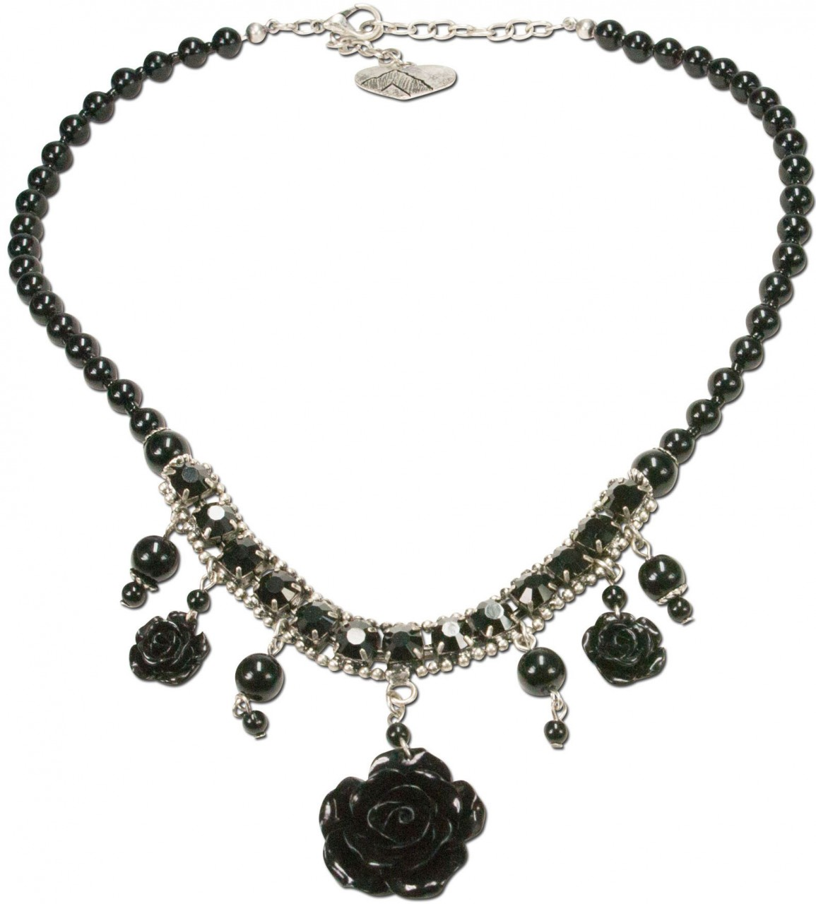 Perlenkette Blütentraum schwarz