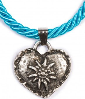 Braid Necklace with Edelweiss Heart, Turquoise