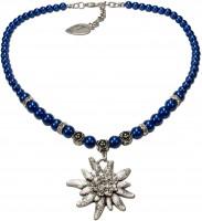 Vorschau: Perlenhalskette großes Edelweiß blau