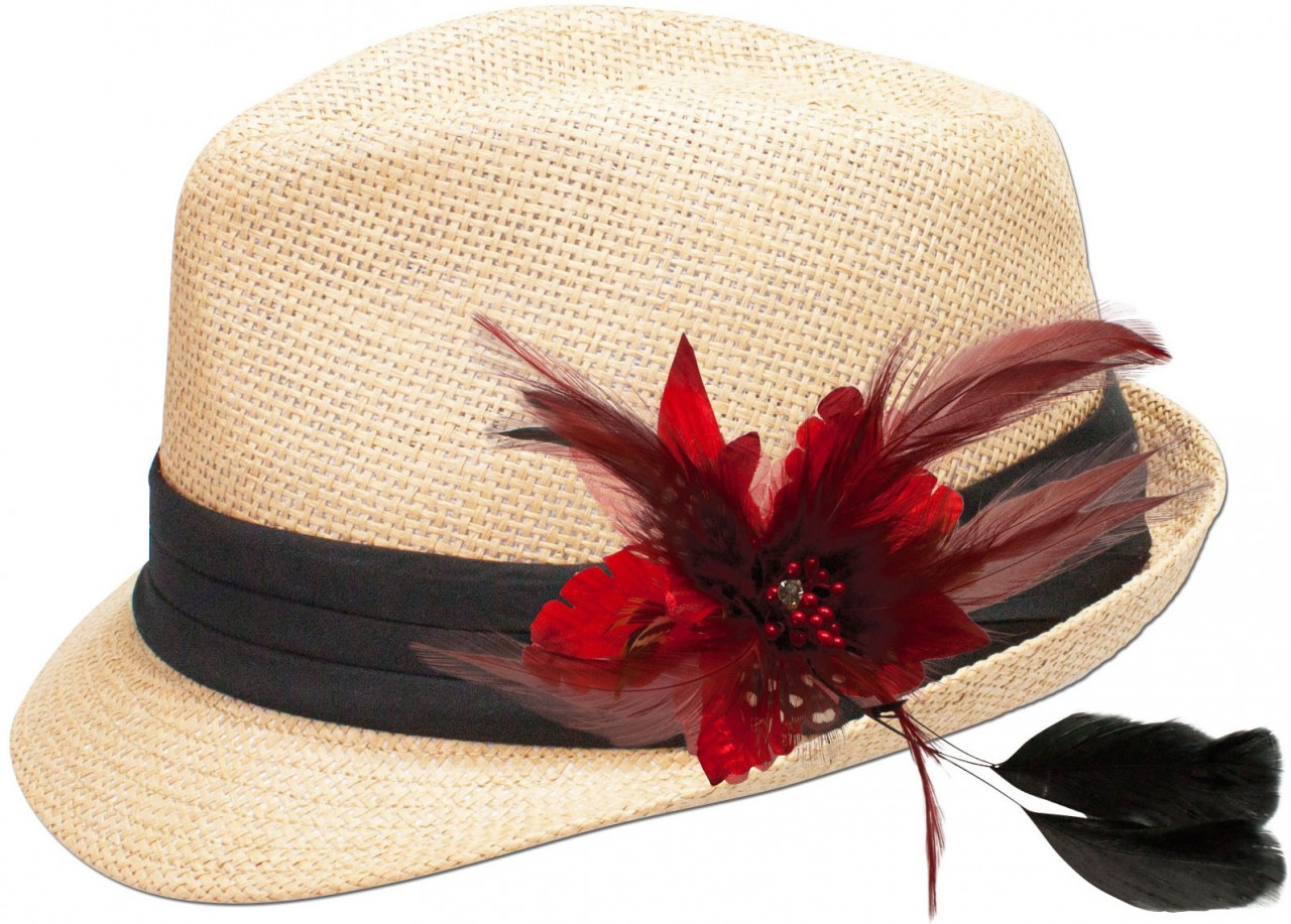 Straw hat Resi with red feather brooch