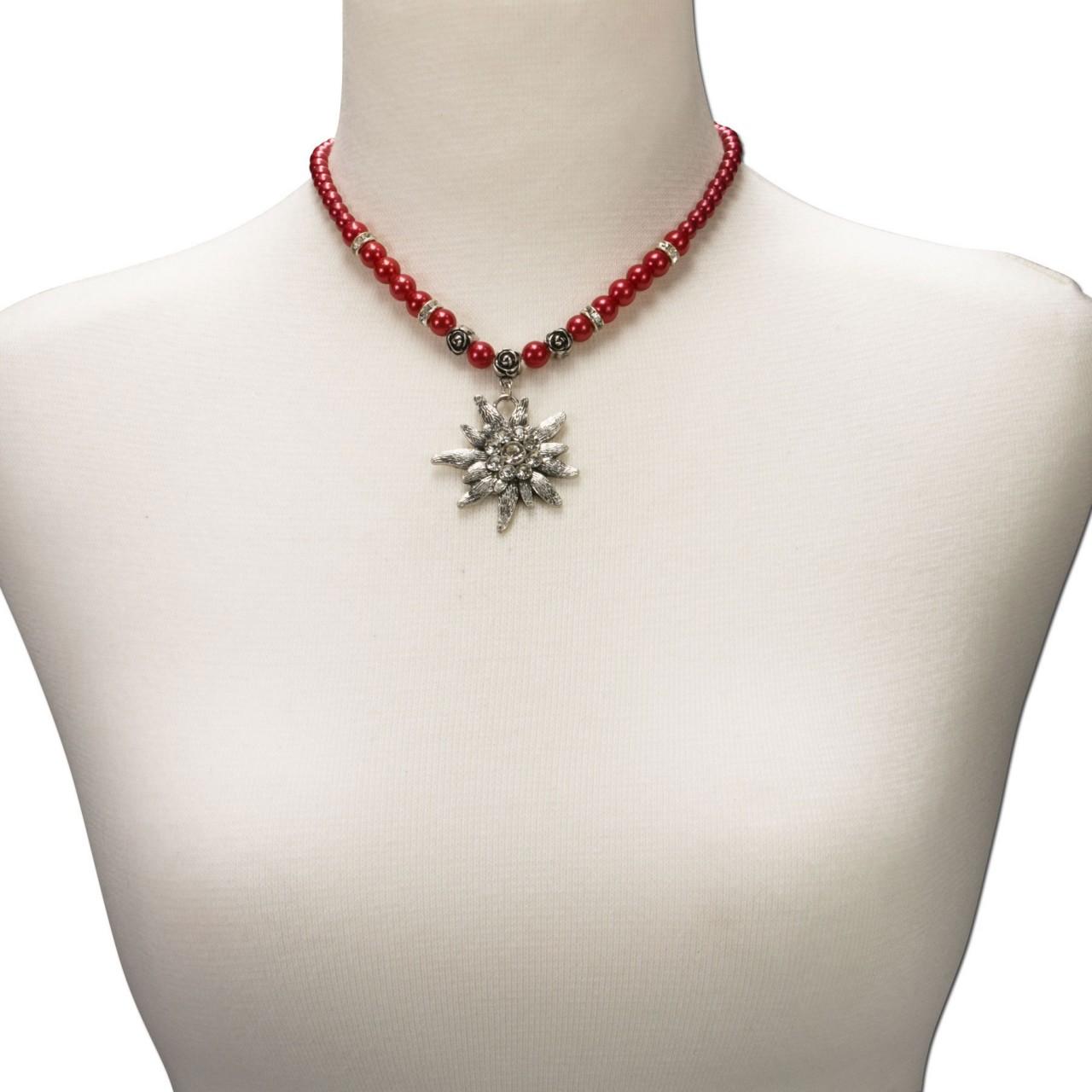Naszyjnik z pereł Big Edelweiss czerwony