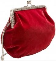 Vorschau: Trachten-Samttasche Hirsch & Eichenlaub rot