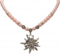 Vorschau: Perlenhalskette großes Edelweiß rosé