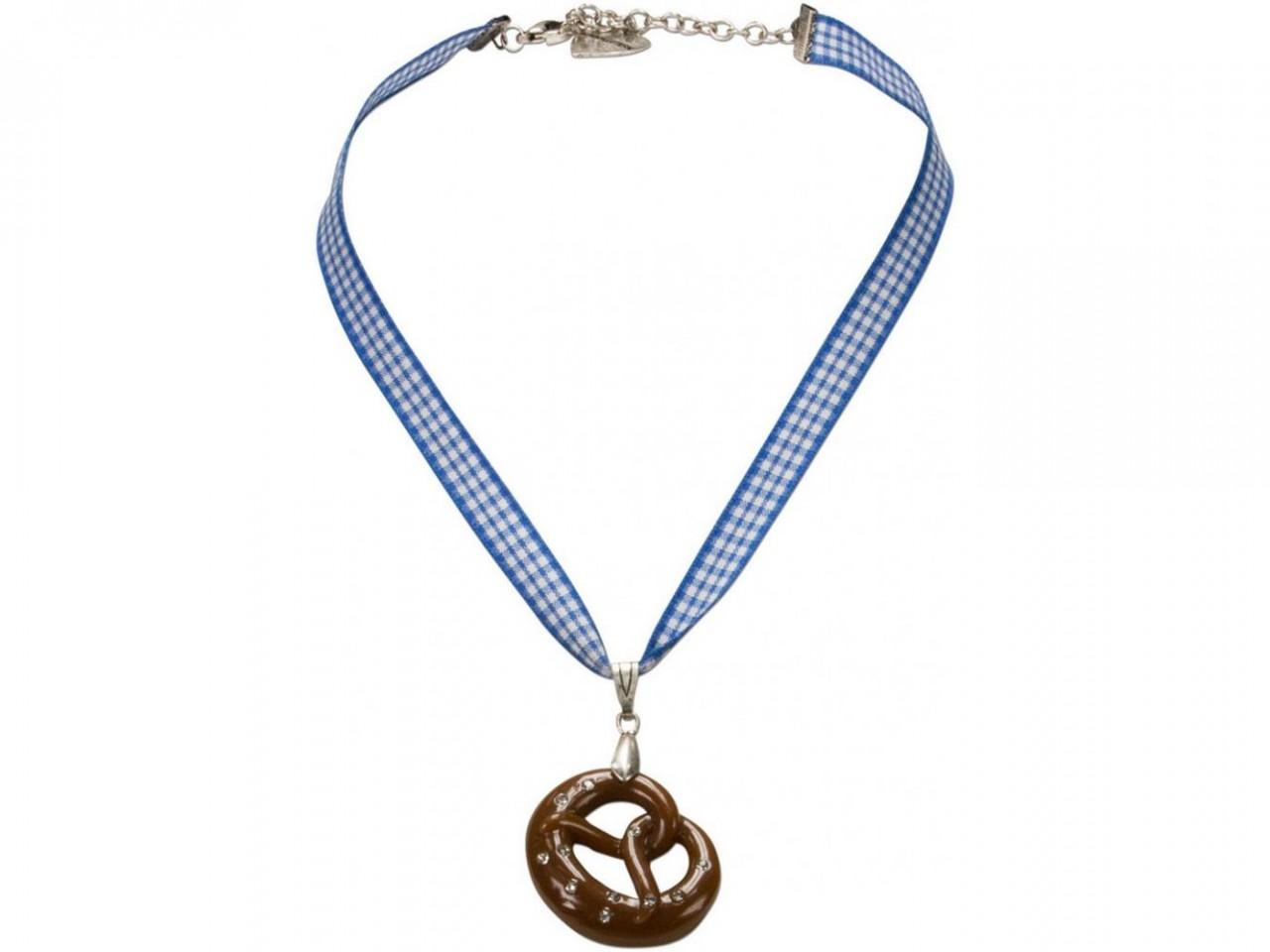 Trachten Halskette Brezel blau